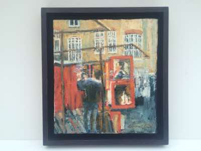 Portobello Market Study 1,                      Hand finished Tray Frame,                          Oil and Collage on canvas,                         Size 30x33cm,                                                 £150 Sterling